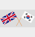 crossed flags south korea and uk vector image vector image