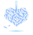 decorative heart symbol from blue feathers eps10 vector image