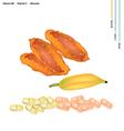 Delicious Dried Bananas with Vitamin B6 and Vitami vector image vector image