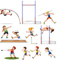Different kind of track and field sports vector image vector image