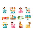 different logos for kids with funny colored vector image vector image