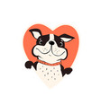 dog puppy in heart shape frame smiling happy vector image