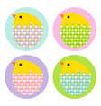 easter chicks in patterned eggs vector image vector image