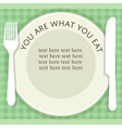 empty plate with fork and knife on stripped vector image vector image