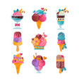 flat set of ice-cream with gradients and vector image