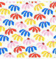 flowers seamless pattern red blue yellow vector image vector image