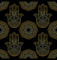 gold hand of fatima with mandala seamless pattern vector image vector image