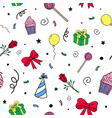 hand drawn birthday pattern celebration vector image