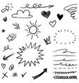 hand drawn set elements black on white vector image