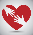 Hand of Lover on Red Heart vector image vector image
