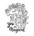 head a white unicorn magical animal black vector image vector image