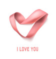 heart from ribbon valentine day background vector image vector image