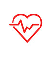 heartbeat line with heart icon in flat style vector image vector image
