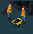 isometric mine industry concept vector image vector image