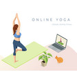 isometric sporty young woman doing yoga practice vector image