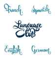 Language club Badges and labels elements for your vector image vector image