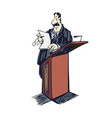 lawyer cartoon clipart lawyer standing on table vector image vector image
