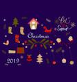 merry christmas and christmas gift logo vector image vector image