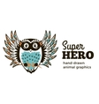 Owl in Superhero costume character isolated on vector image vector image
