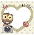 Owl with heart frame vector image