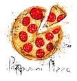 Pepperoni pizza drawn in chalk on a blackboard vector image vector image