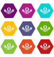 quality pure water icons set 9 vector image vector image
