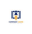 rocket video logo icon design vector image