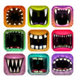scary mouth icons app icon set for game logo vector image vector image