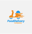 scooter food delivery logo icon template vector image