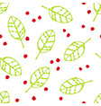 seamless pattern with green leaves and red dots vector image vector image