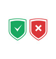 shields with check mark and cross icons set red vector image