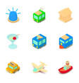 sightseeing tour icons set isometric style vector image vector image