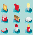 silkskreen color isometric icons vector image vector image