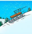 sledge slide down hill pop art vector image vector image