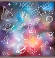 space themed doodle set on blurred galaxy vector image