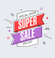 super sale banner template in flat trendy memphis vector image vector image
