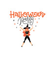 trendy pretty dancing witch with lettering vector image