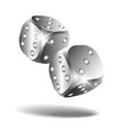 two silver falling dice isolated on white vector image