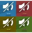 Color set Mute sound Flat modern web button with vector image
