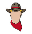 cowboy face portrait of strong man vector image