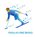 disabled skier running downhill vector image