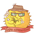 sun character with flowers vector image