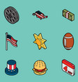 america color outline isometric icons vector image vector image