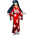 Asian Woman In Red Kimono vector image