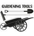 black and white garden care toolls silhouette set vector image