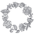 black and white henna floral wreath vector image vector image