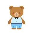 Brown Bear In Bow Tie Blue Pants And White Top vector image vector image