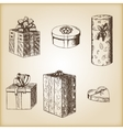 Brown vintage sketch - hand drawn gift boxes vector image