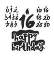 calligraphy happy birthday cake with candles vector image vector image