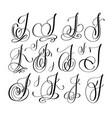 calligraphy lettering script font j set han vector image vector image